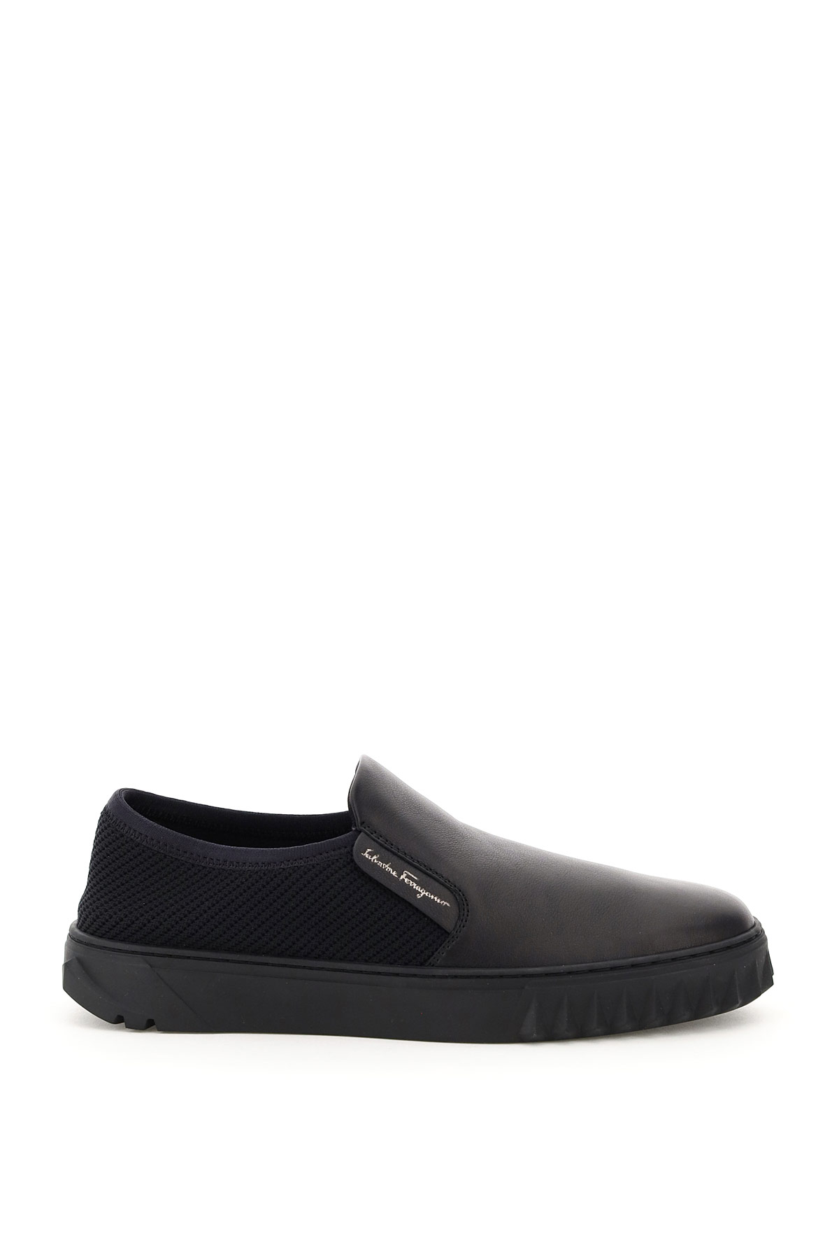 SALVATORE FERRAGAMO SLIP ON LEATHER AND MESH RAOUL 8 Black Leather, Technical
