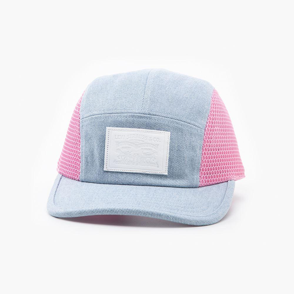 Levis 男女同款 可調式環釦棒球網帽 / 水藍丹寧混搭網格設計 / 質感白皮牌-熱銷單品