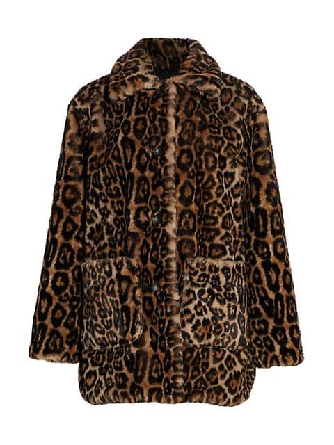 Bolton Leopard Print Faux Fur Coat