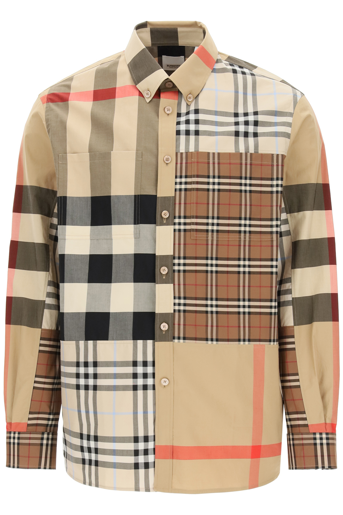 BURBERRY TERENCE SHIRT M Beige, Brown, Black Cotton