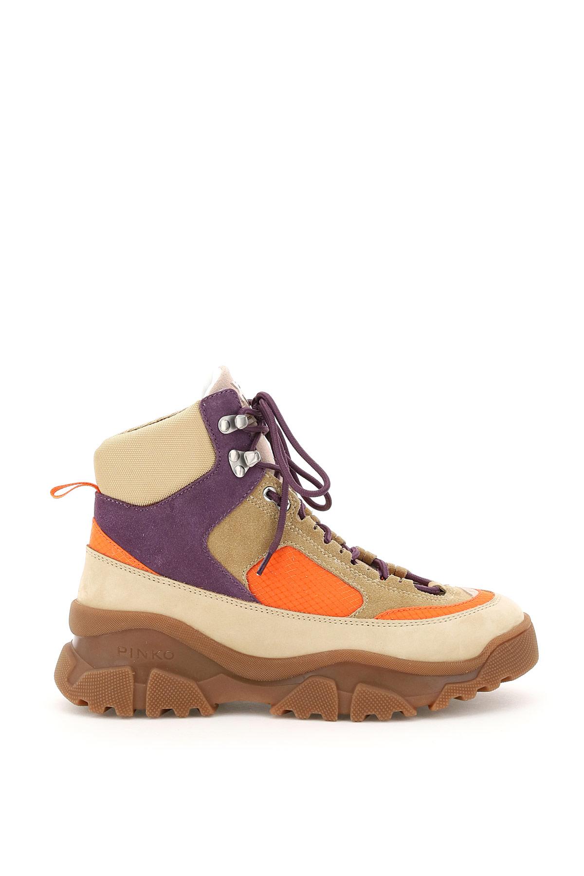 PINKO LOVE TREK 2 HIGH SNEAKERS 35 Orange, Beige, Purple Leather, Technical