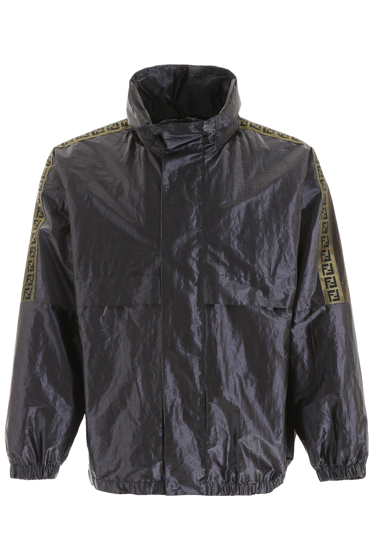 FENDI METALLIC WINDBREAKER WITH FF BANDS 48 Gold, Silver, Grey Technical