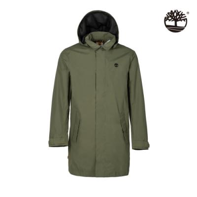 Timberland 男款軍綠色連帽防水風衣外套|A24TM