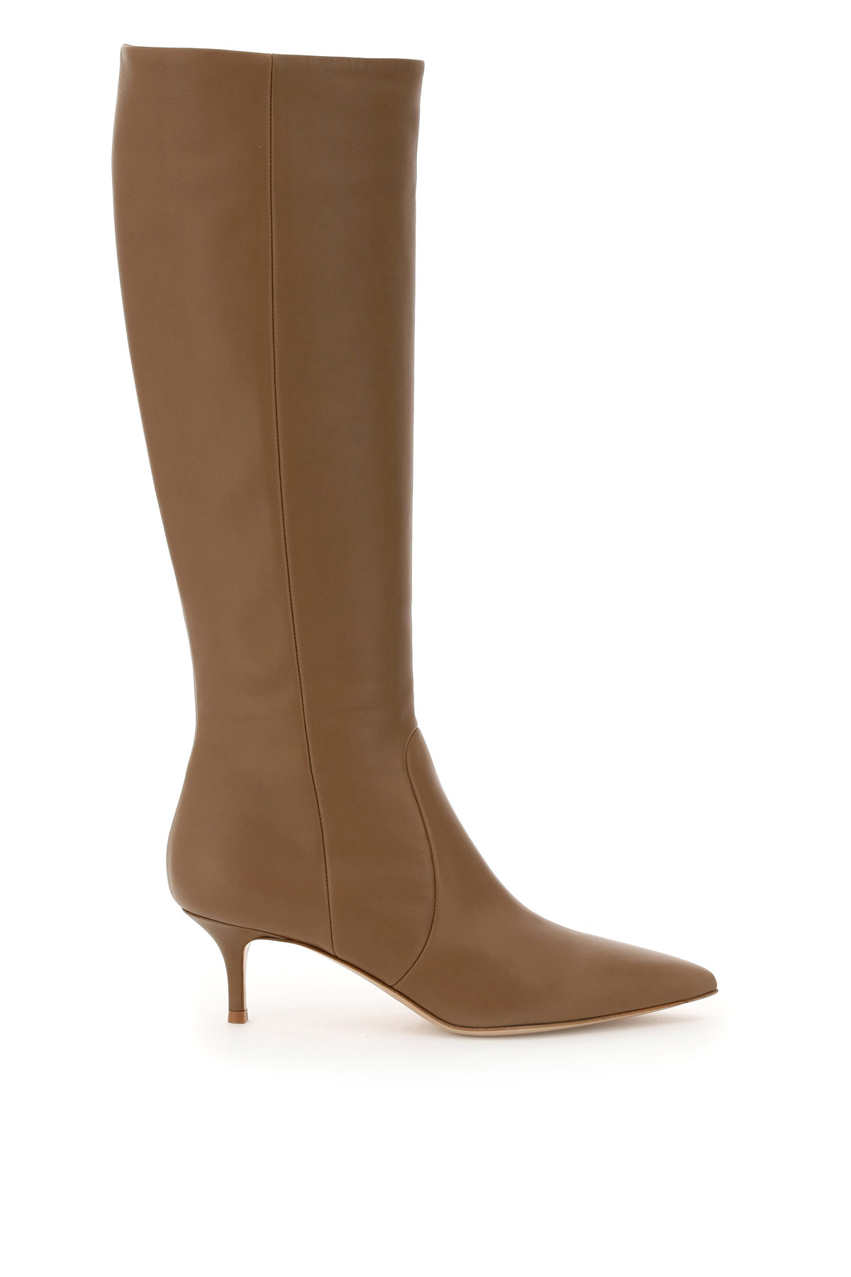 GIANVITO ROSSI JANE LEATHER BOOTS 40 Beige, Brown Leather