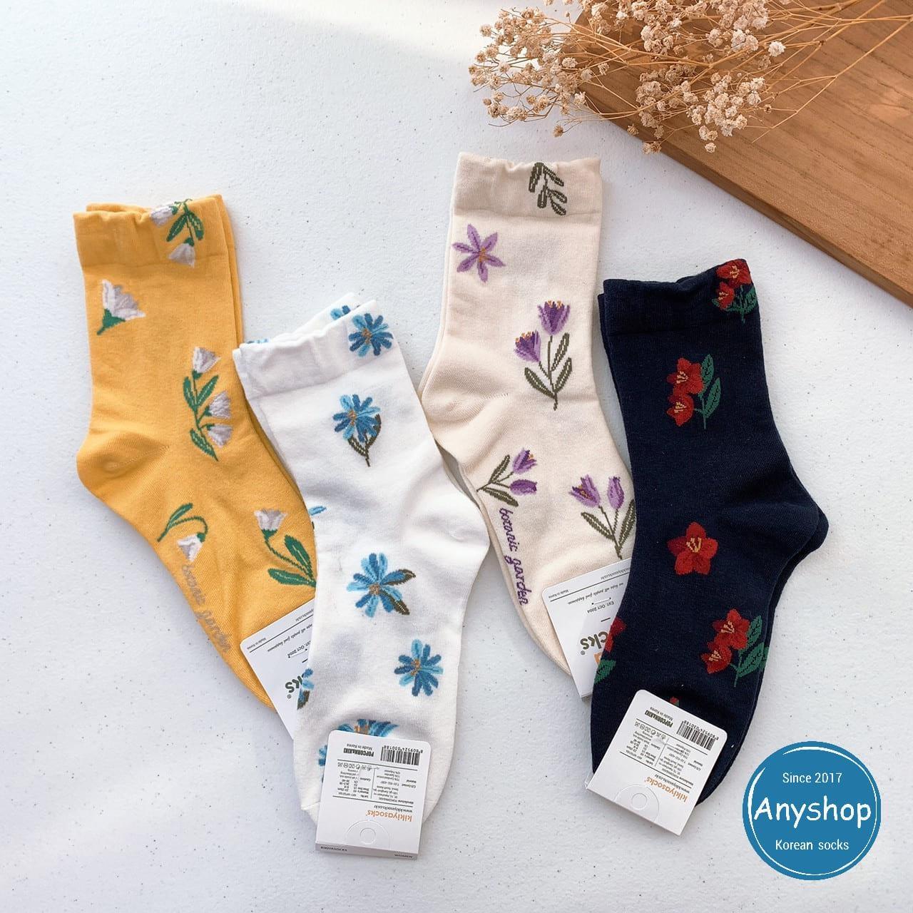韓國襪-[Anyshop]手繪花朵長襪