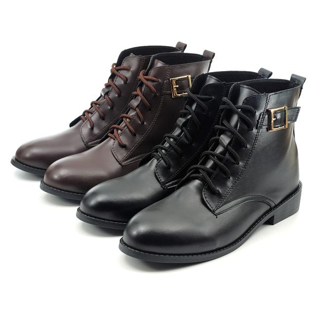 【101玩Shoes】MIT 學院風格綁帶牛津靴大尺碼馬靴-黑色/咖色41-44碼