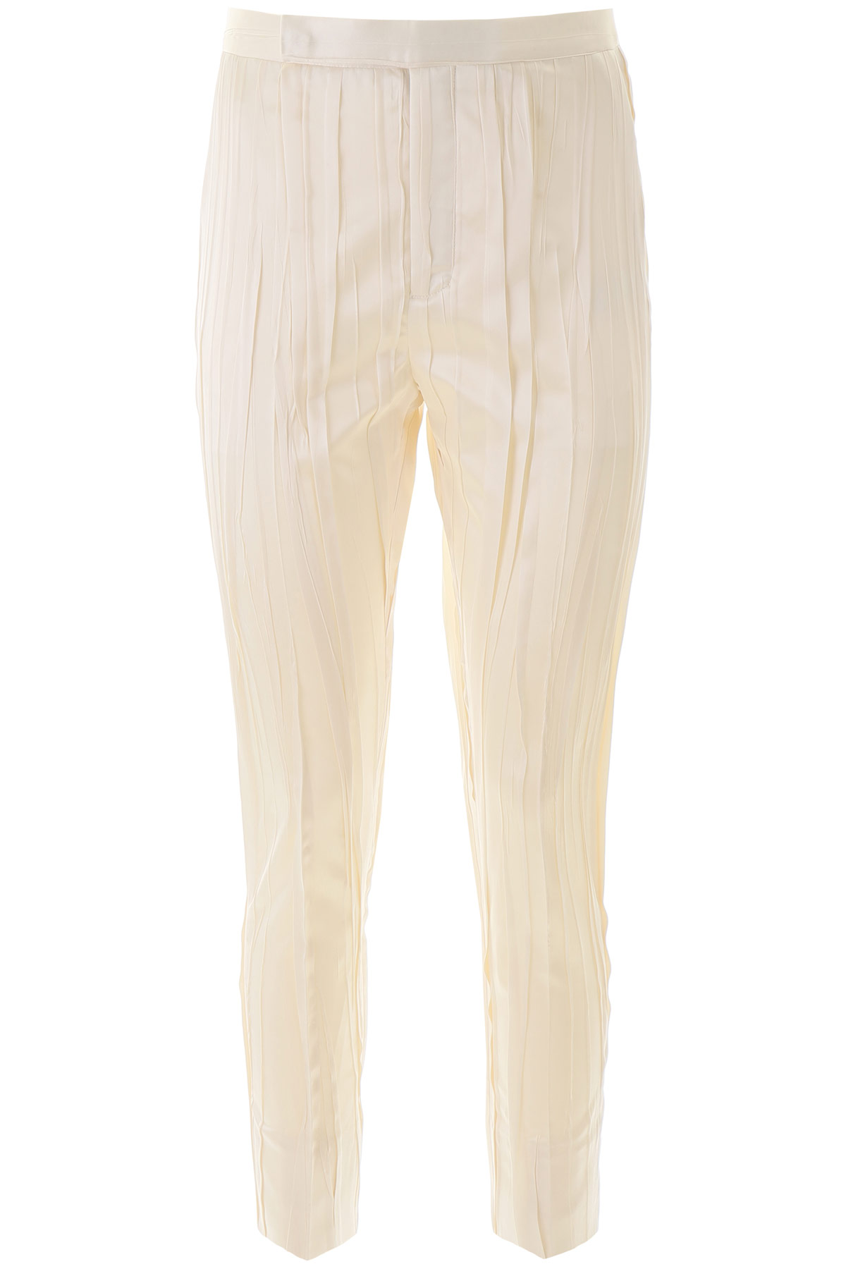 SAINT LAURENT CRINKLE PLEATED SATIN TROUSERS 36 White Silk