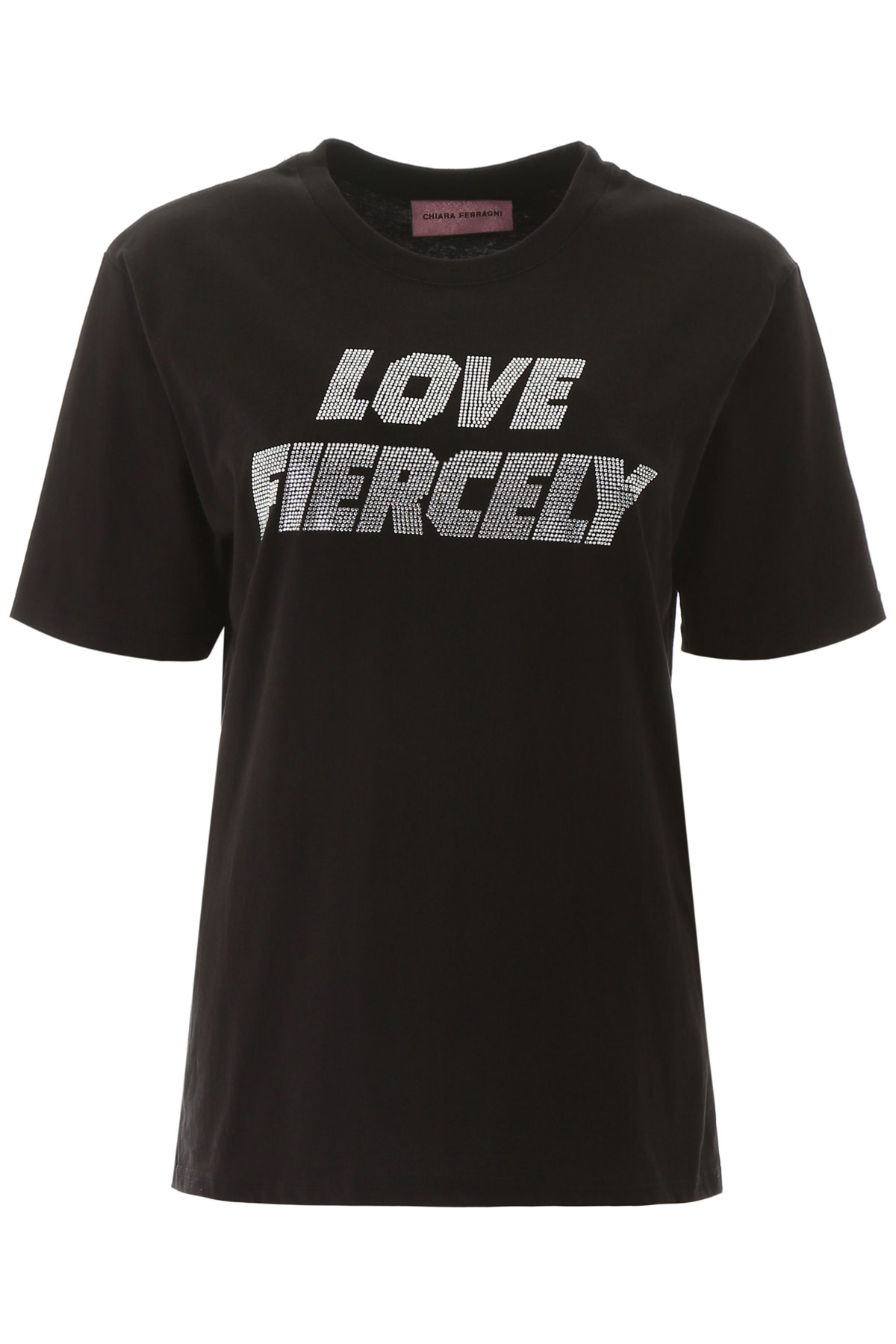 CHIARA FERRAGNI LOVE FIERCELY T-SHIRT S Black, Metallic Cotton
