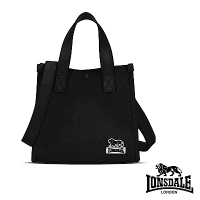 【LONSDALE 英國小獅】帆布皮革飾邊小方包-黑色 LD1325