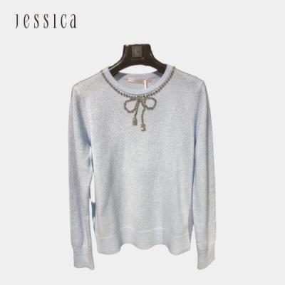 JESSICA - 保暖舒適百搭鑽飾圓領羊毛混紡針織衫(淺藍)