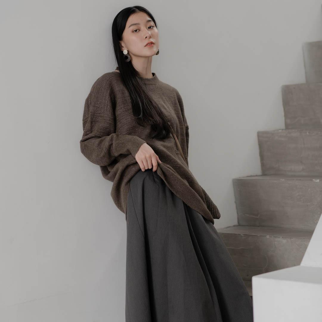 The Madre金蔥混紡針織寬版上衣(附同材質小包)