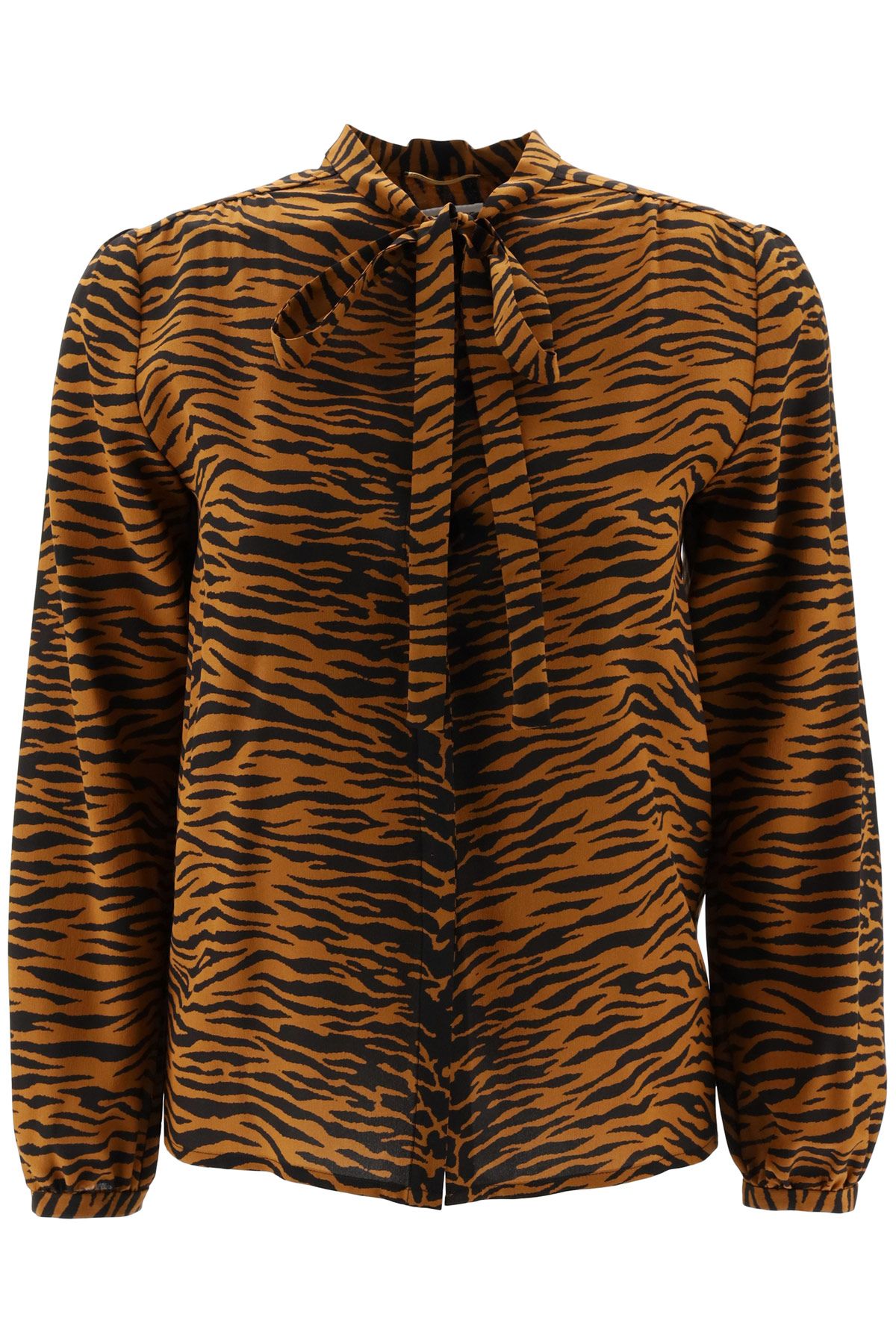 SAINT LAURENT TIGER PRINT SHIRT 36 Brown, Black Silk