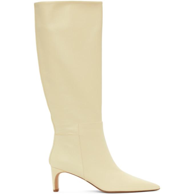 Jil Sander 灰白色尖头高筒靴