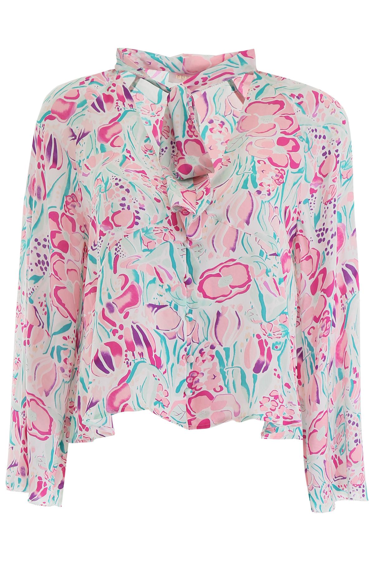 RIXO LONDON KIM BLOUSE 12 Pink, Fuchsia, Green