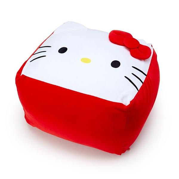 【免運特價$890】小禮堂 Hello Kitty 方形絨毛抱枕 絨毛坐墊 懶骨頭 (紅 大臉) 4550337-23495