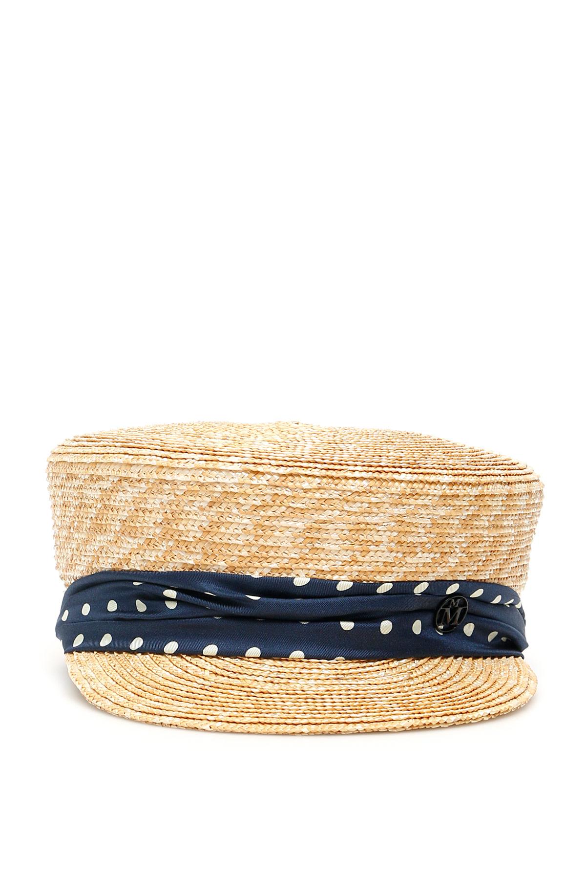MAISON MICHEL ABBY STRAW HAT L Beige, Blue Silk
