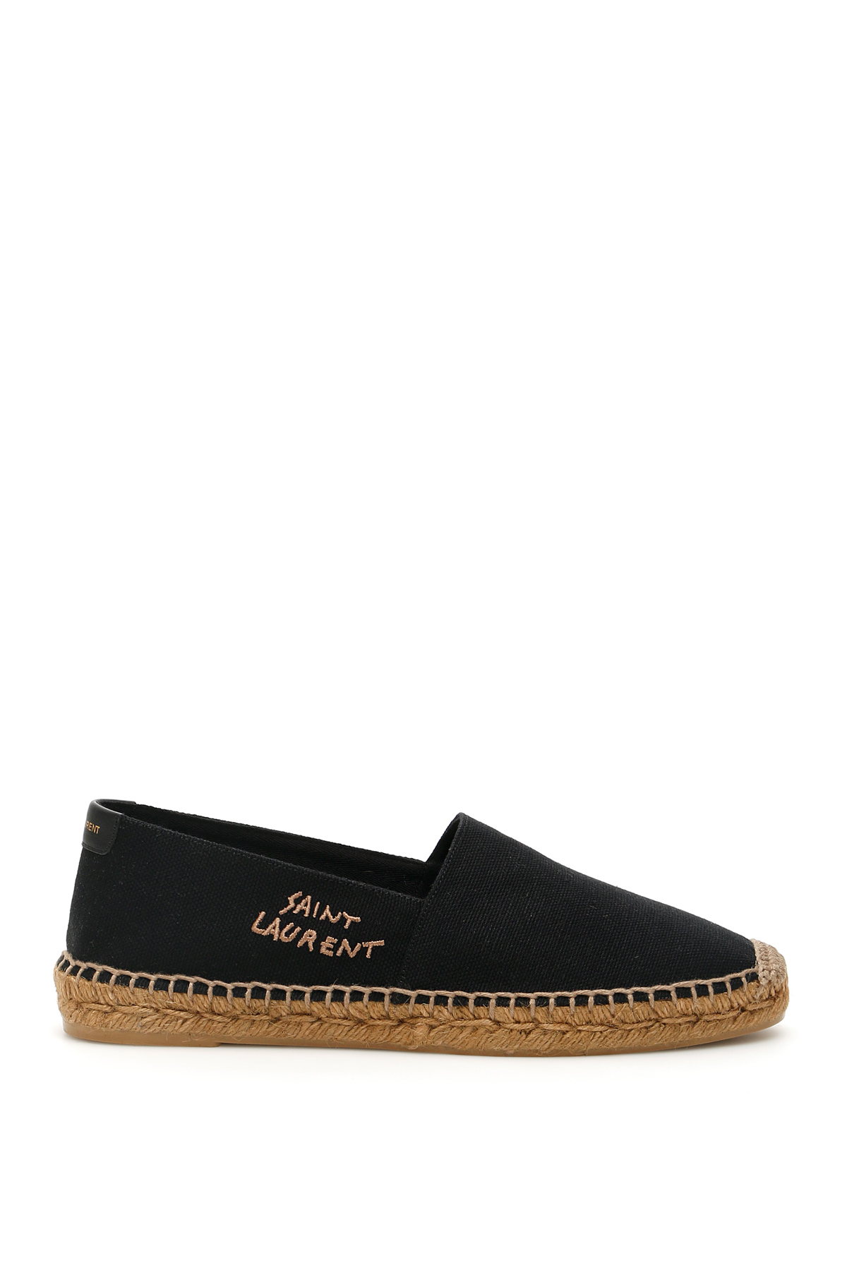 SAINT LAURENT SIGNATURE CANVAS ESPADRILLES 41 Black, Brown Cotton, Linen