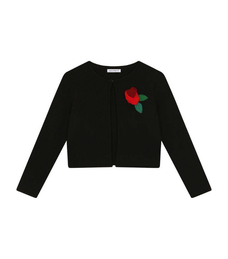 Dolce & Gabbana Kids Rose Appliqué Cardigan (8-12 Years)