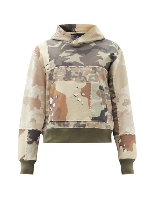 Amiri - Camouflage-print Cotton Hooded Sweatshirt - Mens - Green