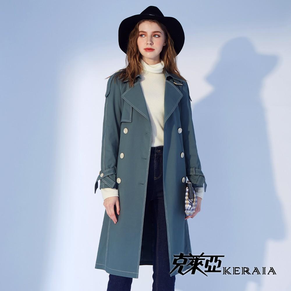【KERAIA 克萊亞】福爾摩斯經典英式風衣外套(藍色/卡其)
