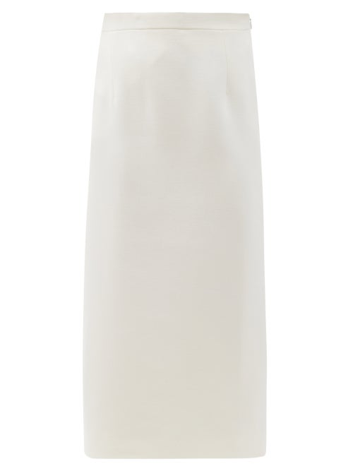 Alessandra Rich - High-rise Wool-blend Crepe Pencil Skirt - Womens - White