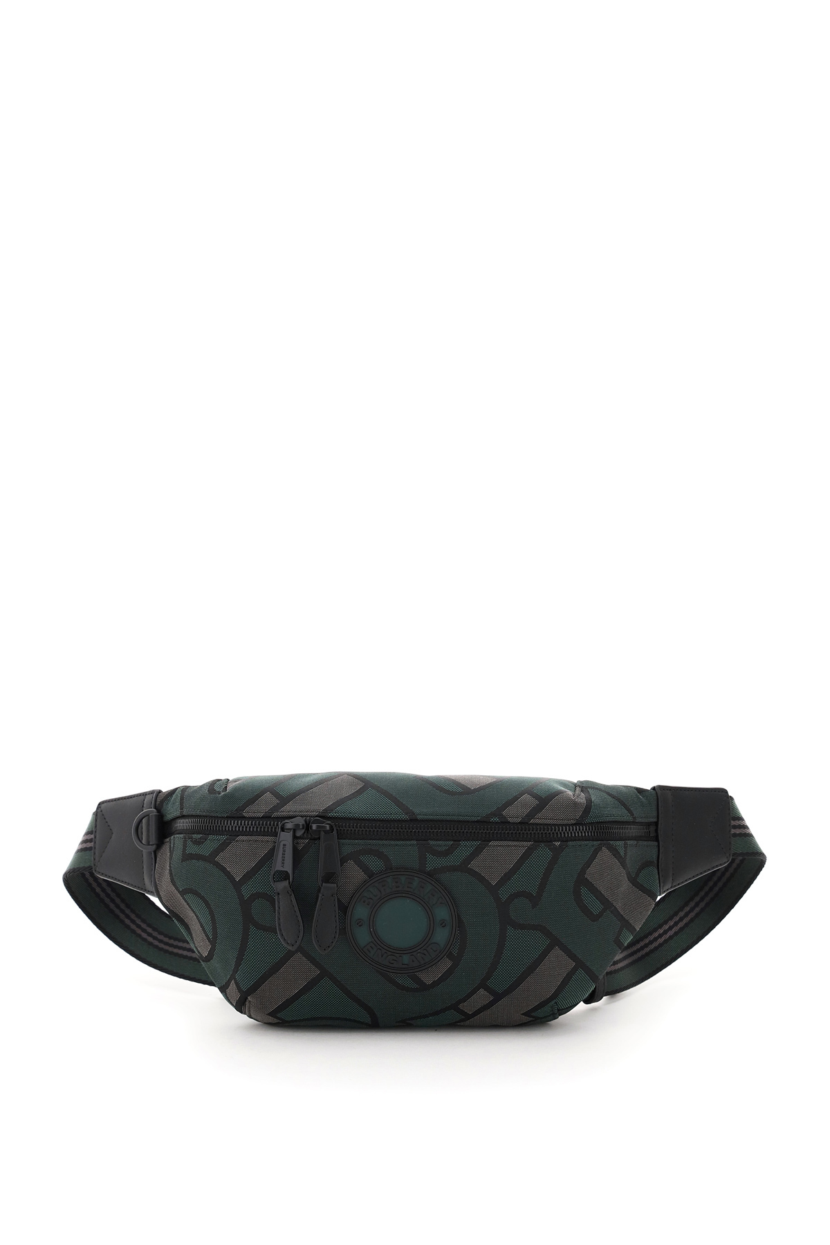 BURBERRY SONNY MEDIUM BELT BAG OS Green, Grey, Black Leather, Cotton, Technical