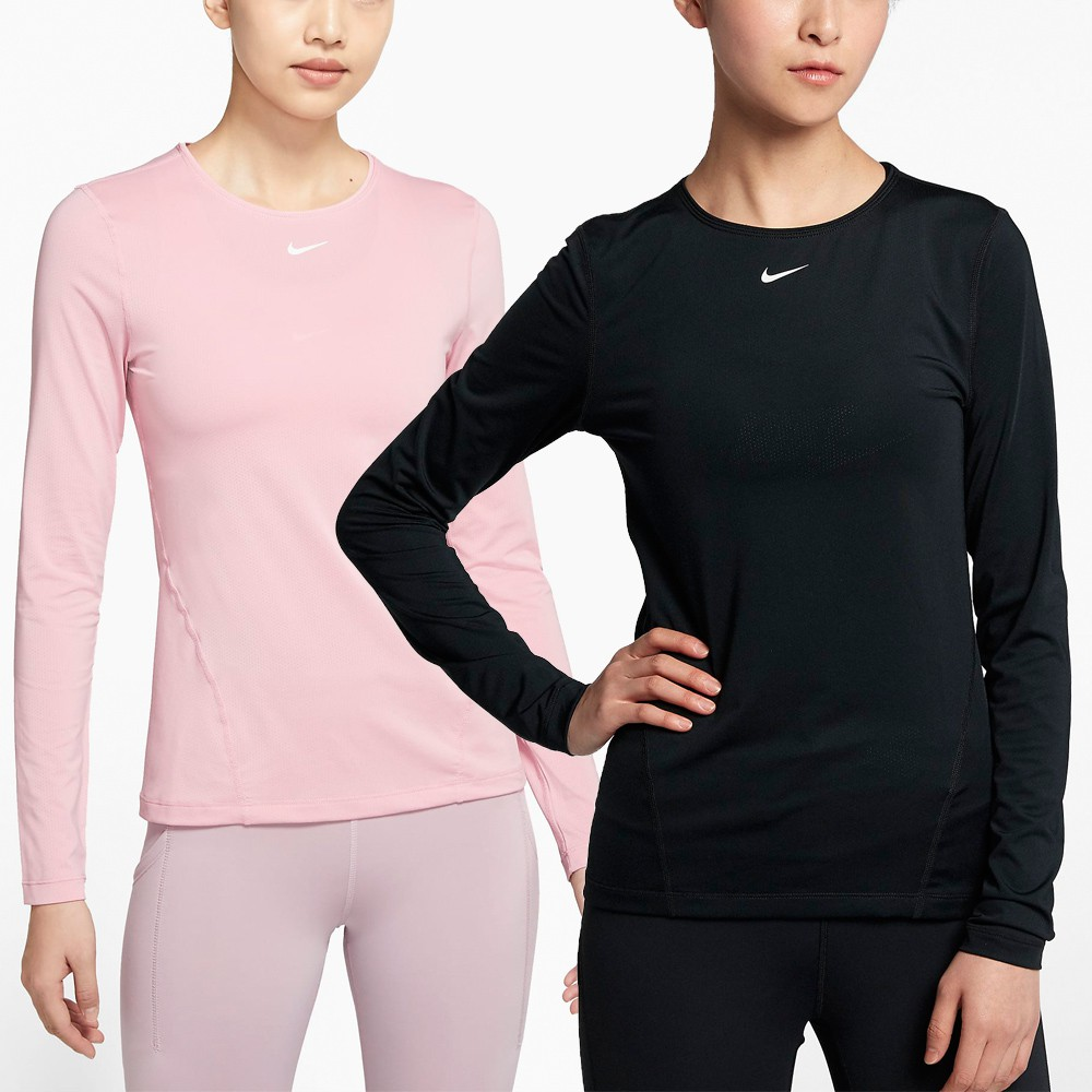 NIKE 女 運動 長袖上衣 AO9950010 AO9950630 (202101) 黑 粉 透氣 貼身