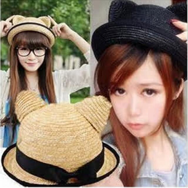 貓耳朵圓頂黑蝴蝶結草帽g1271