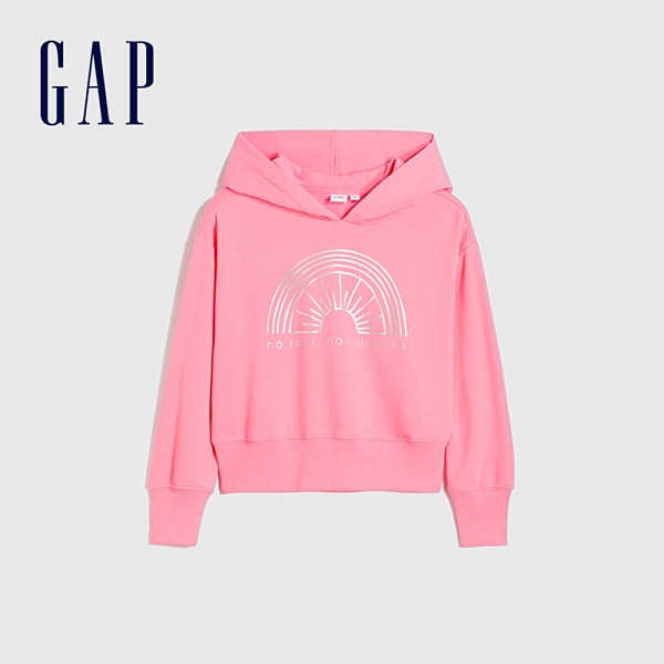 Gap女童 碳素軟磨系列 法式圈織亮色連帽休閒上衣 801375-粉色