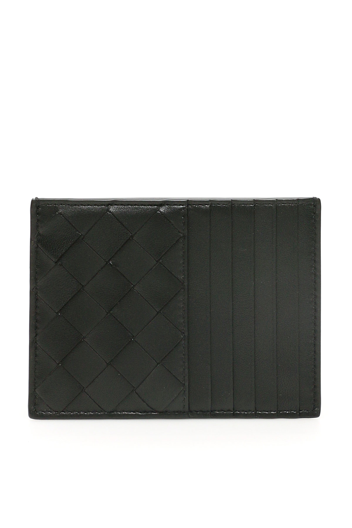 BOTTEGA VENETA UNISEX INTRECCIATO 15 CARDHOLDER OS Black Leather