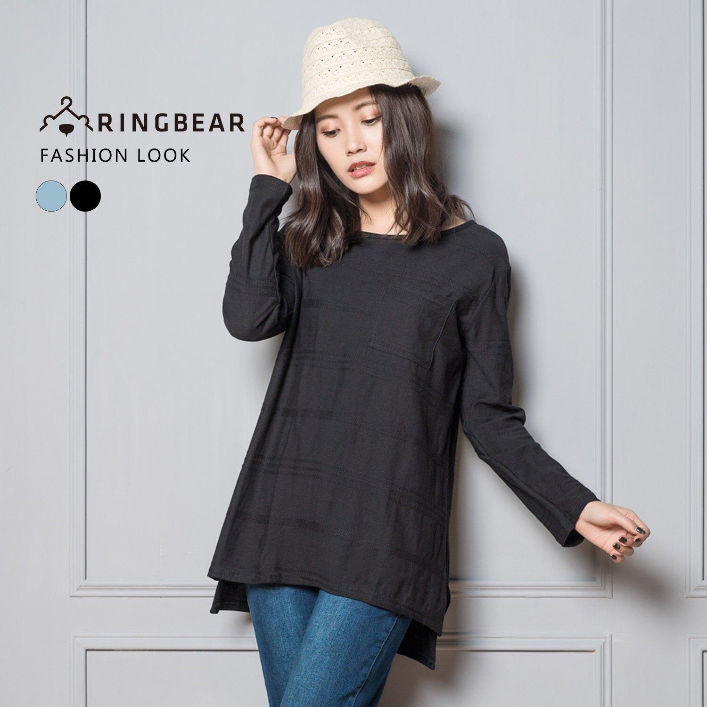 長袖上衣--半立體編織紋設計前口袋長短開衩下襬棉質上衣(黑.藍L-4L)-X252眼圈熊中大尺碼
