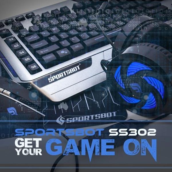 美國聲霸SportsBot SS302 LED競技鍵盤滑鼠耳機滑鼠墊電競遊戲四合一組 強強滾