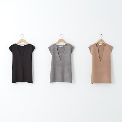 【KiKi】簡約文青V領短袖-針織衫(三色/魅力商品/版型適中)