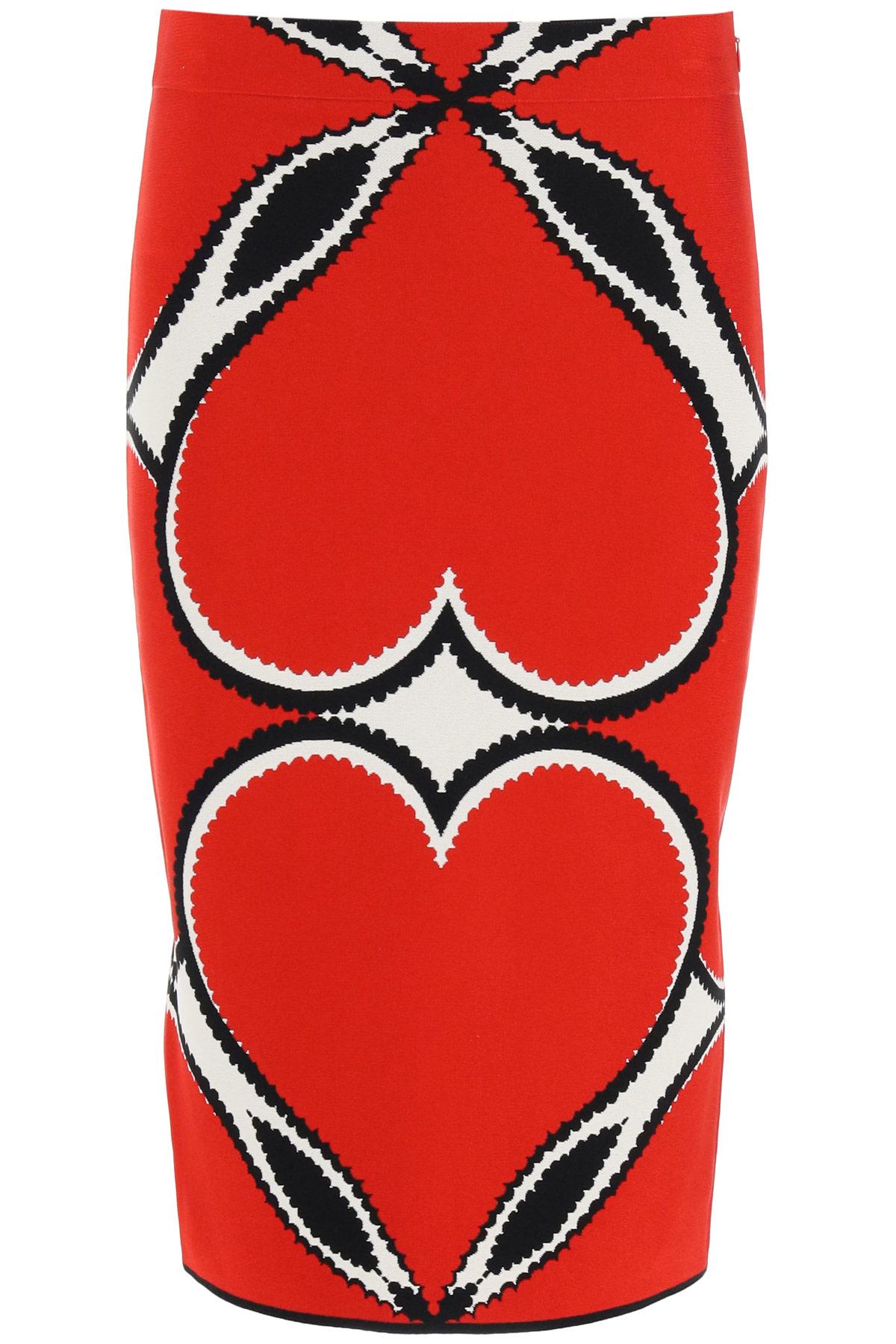 ALEXANDER MCQUEEN LOVE HEART PENCIL SKIRT XS Red, Black, White