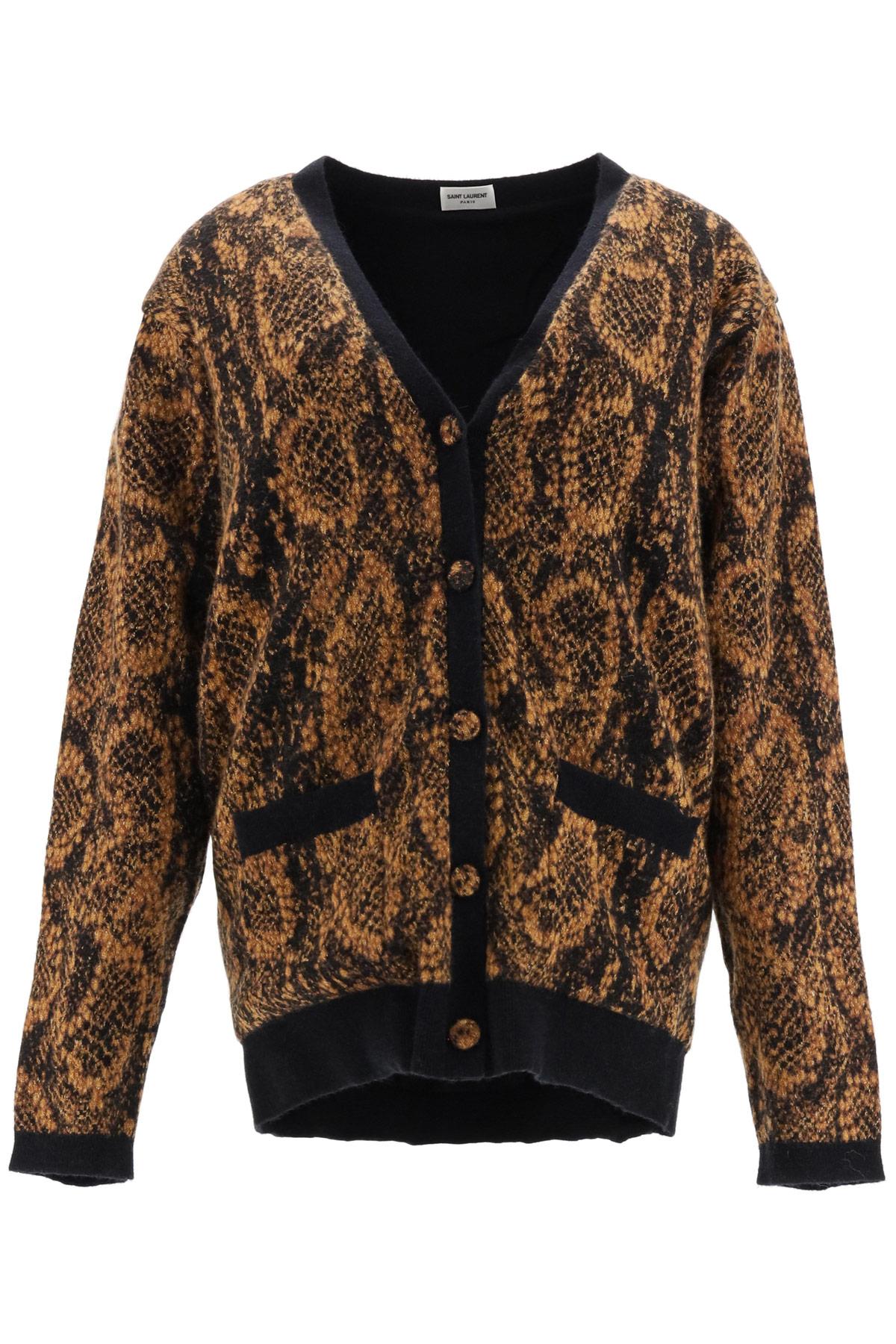 SAINT LAURENT JACQUARD SNAKE CARDIGAN S Black, Brown, Gold Wool