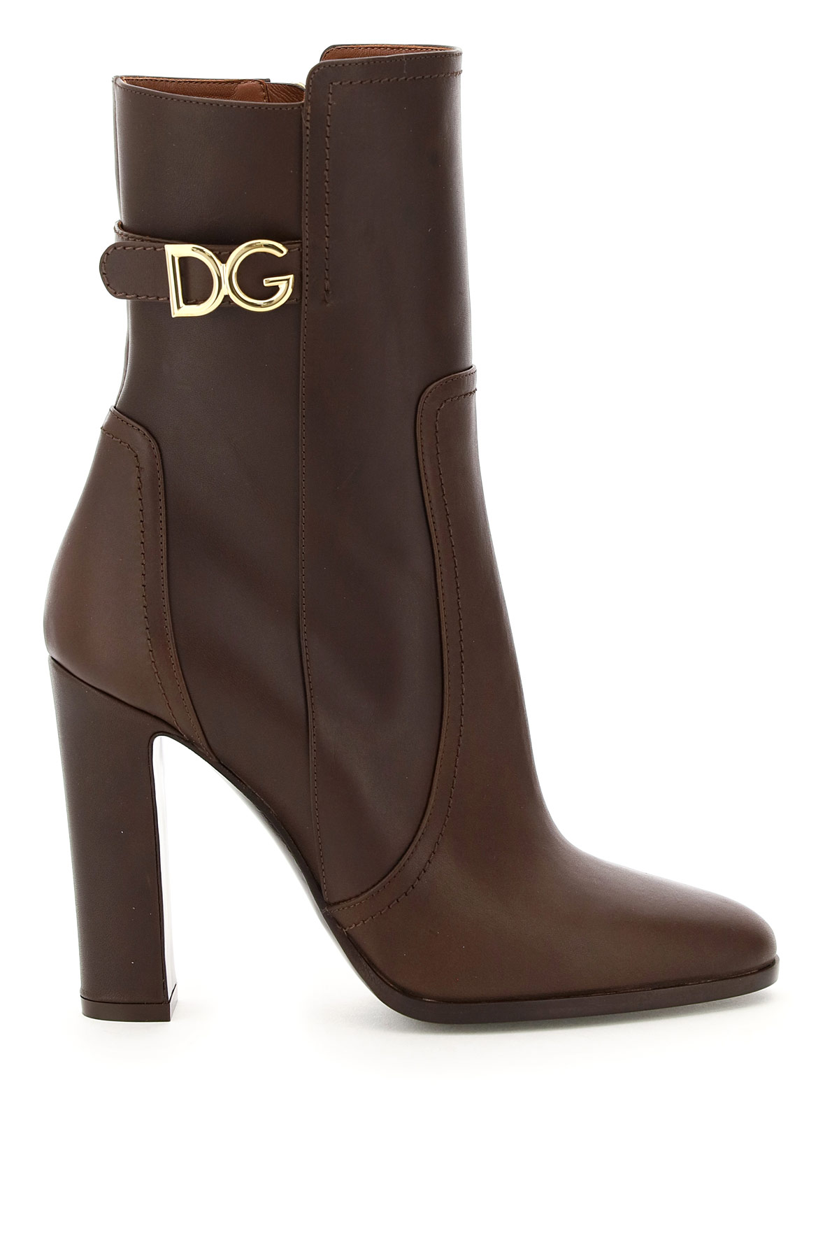 DOLCE & GABBANA DG CAROLINE ANKLE BOOTS 37 Brown, Purple Leather