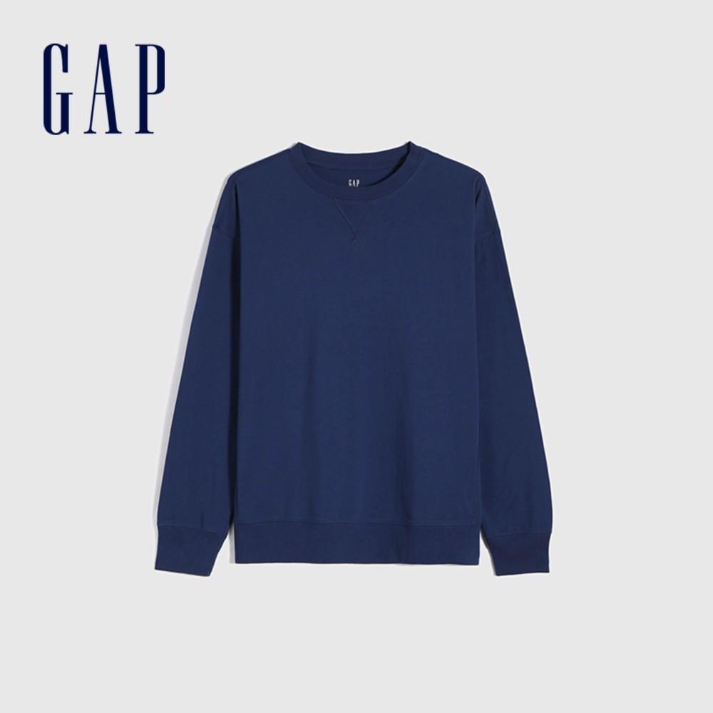 Gap 男裝 純棉寬鬆圓領長袖T恤 842332-藍色