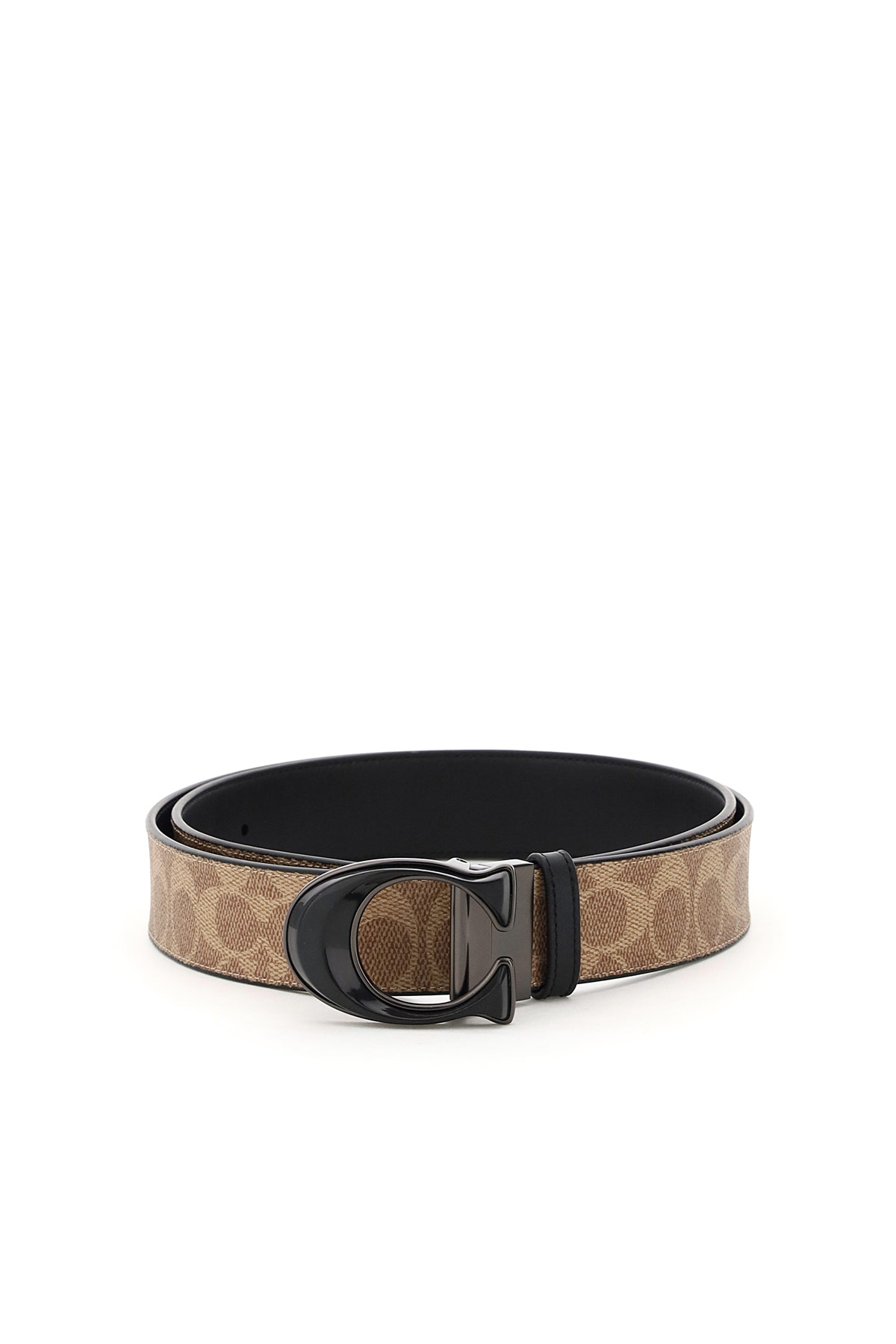 COACH SIGNATURE REVERSIBLE TAILORED BELT 42 Brown, Black Leather