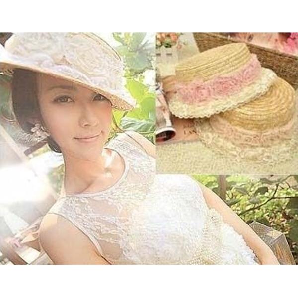 花朵造型蕾絲邊 平頂草帽 編織帽 防曬帽 g059