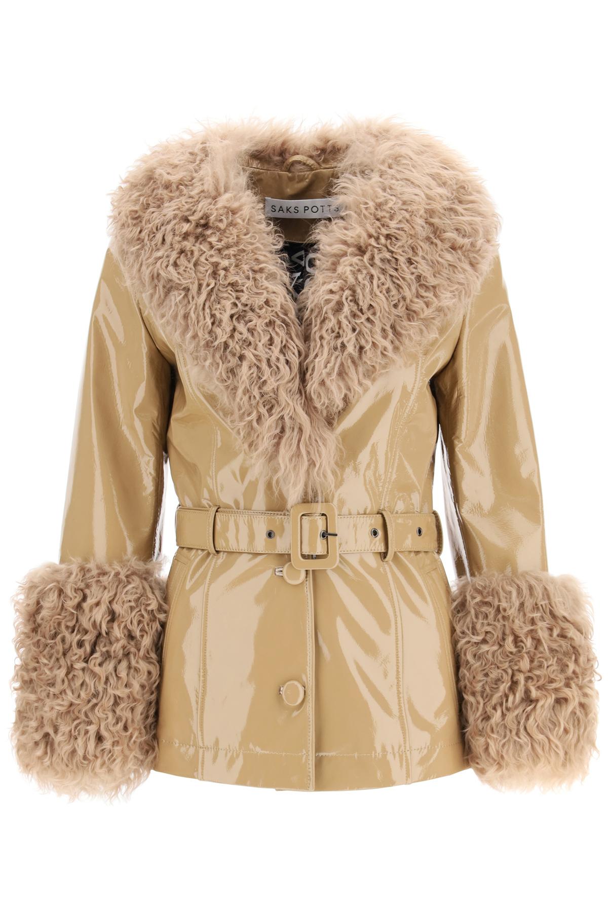 SAKS POTTS SHORTY JACKET IN SHINY LEATHER 2 Beige Leather, Fur
