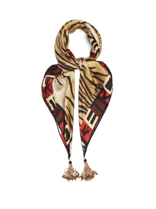 Etro - Tasselled Tiger-print Silk-twill Scarf - Womens - Brown Multi