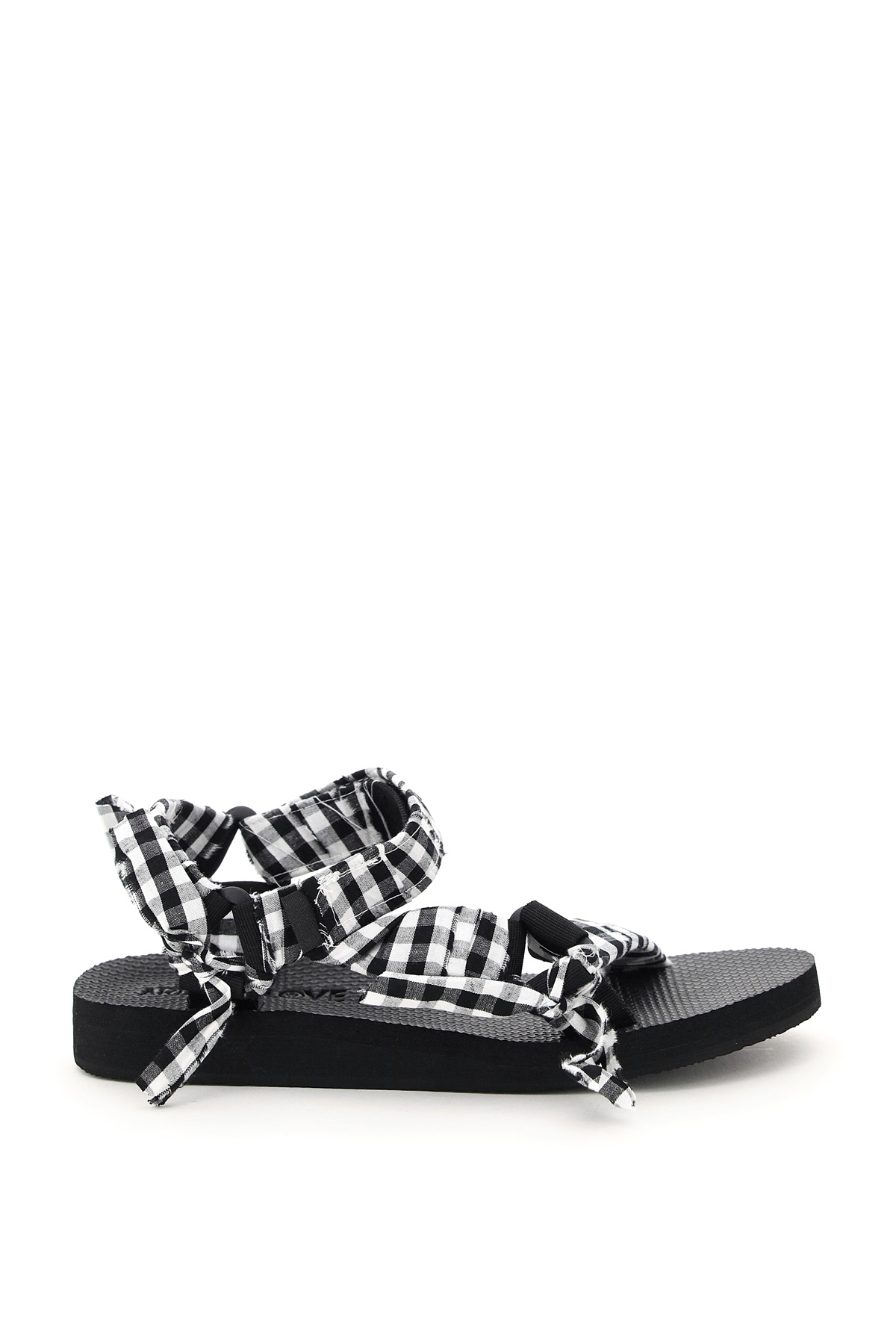 ARIZONA LOVE TREKKY GINGHAM SANDALS 38 White, Black Cotton