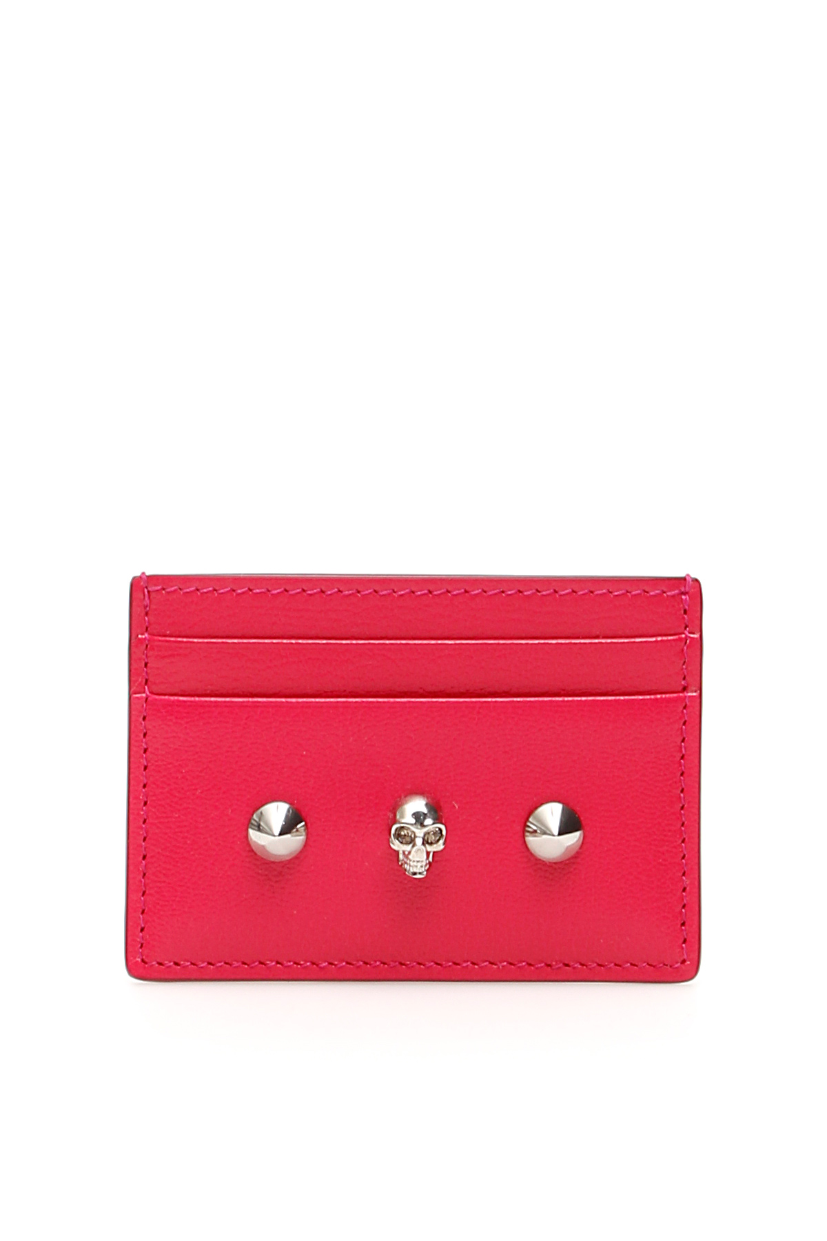ALEXANDER MCQUEEN SKULL CREDIT CARD HOLDER OS Fuchsia, Red Leather