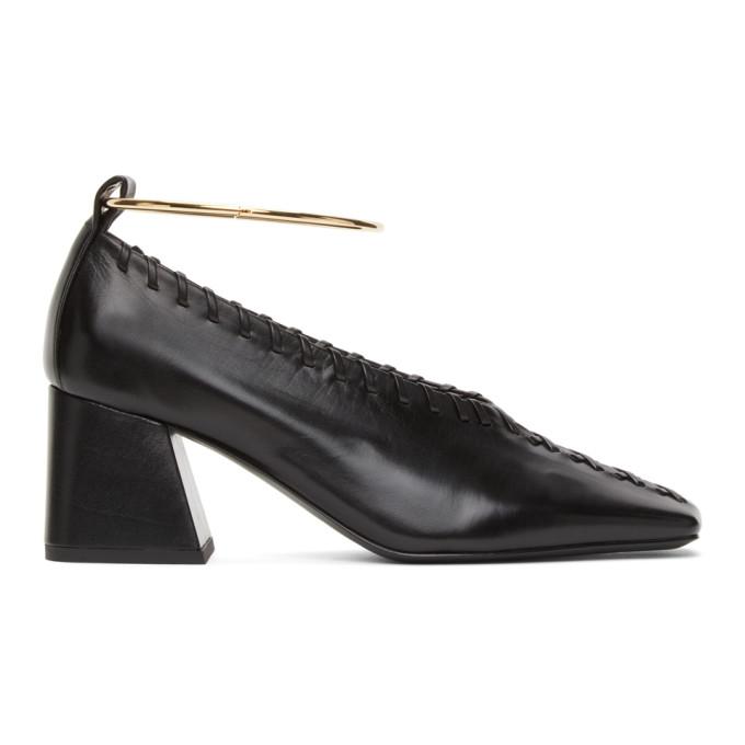 Jil Sander 黑色 Whipstitch Trim 踝环中跟鞋