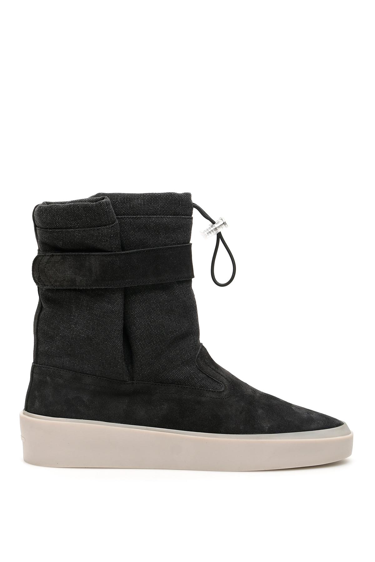 FEAR OF GOD SKI LOUNGE BOOTS 42 Grey, Black Cotton, Leather, Denim