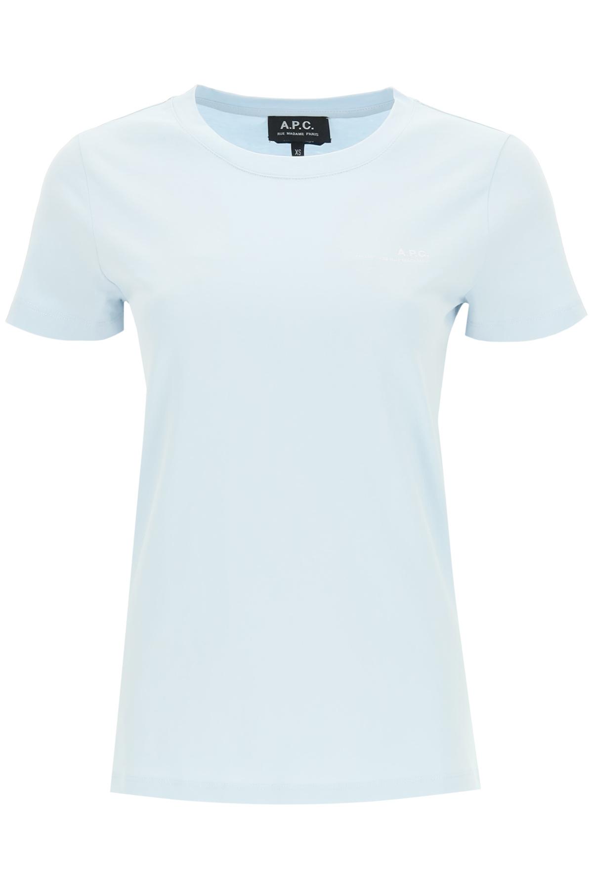 A.P.C. ITEM 001 T-SHIRT WITH LOGO PRINT M Light blue, White Cotton