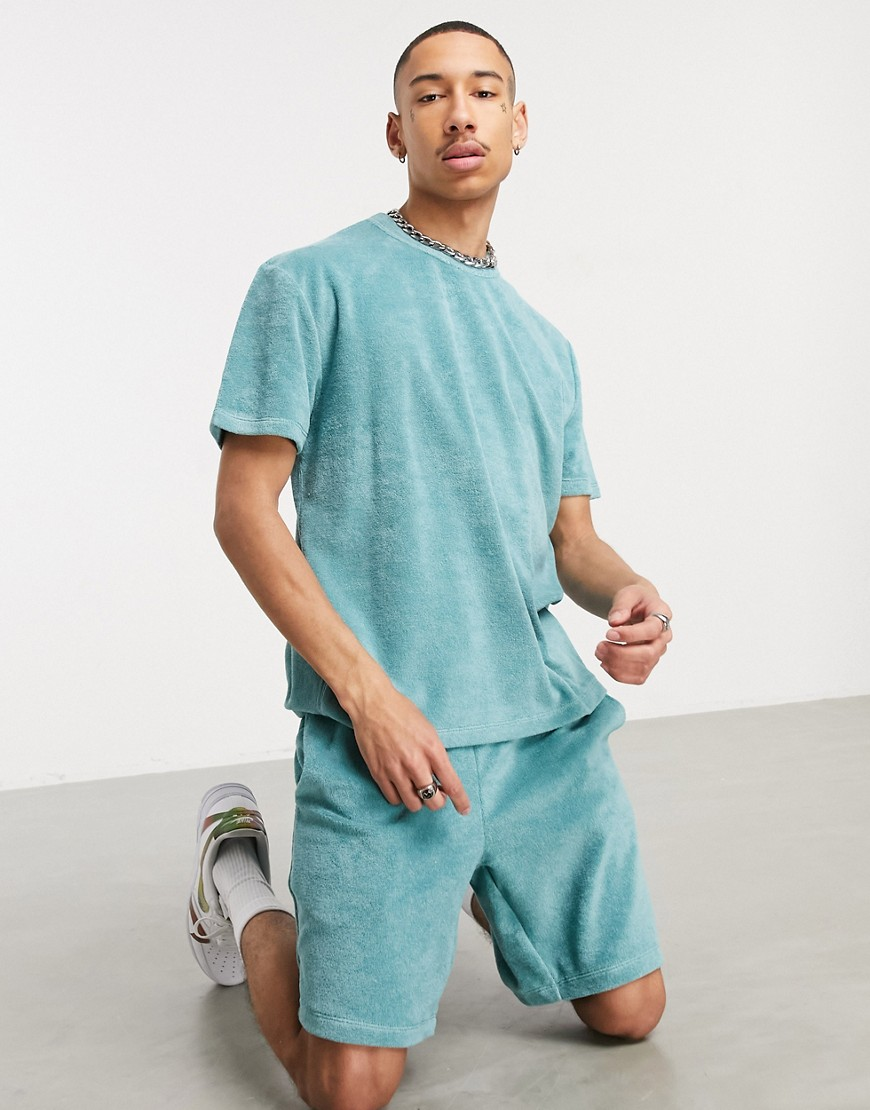 ASOS DESIGN co-ord relaxed t-shirt in blue towelling