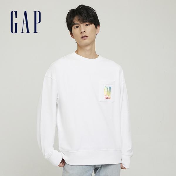 Gap男裝 碳素軟磨系列 Logo法式圈織休閒上衣 777896-白色