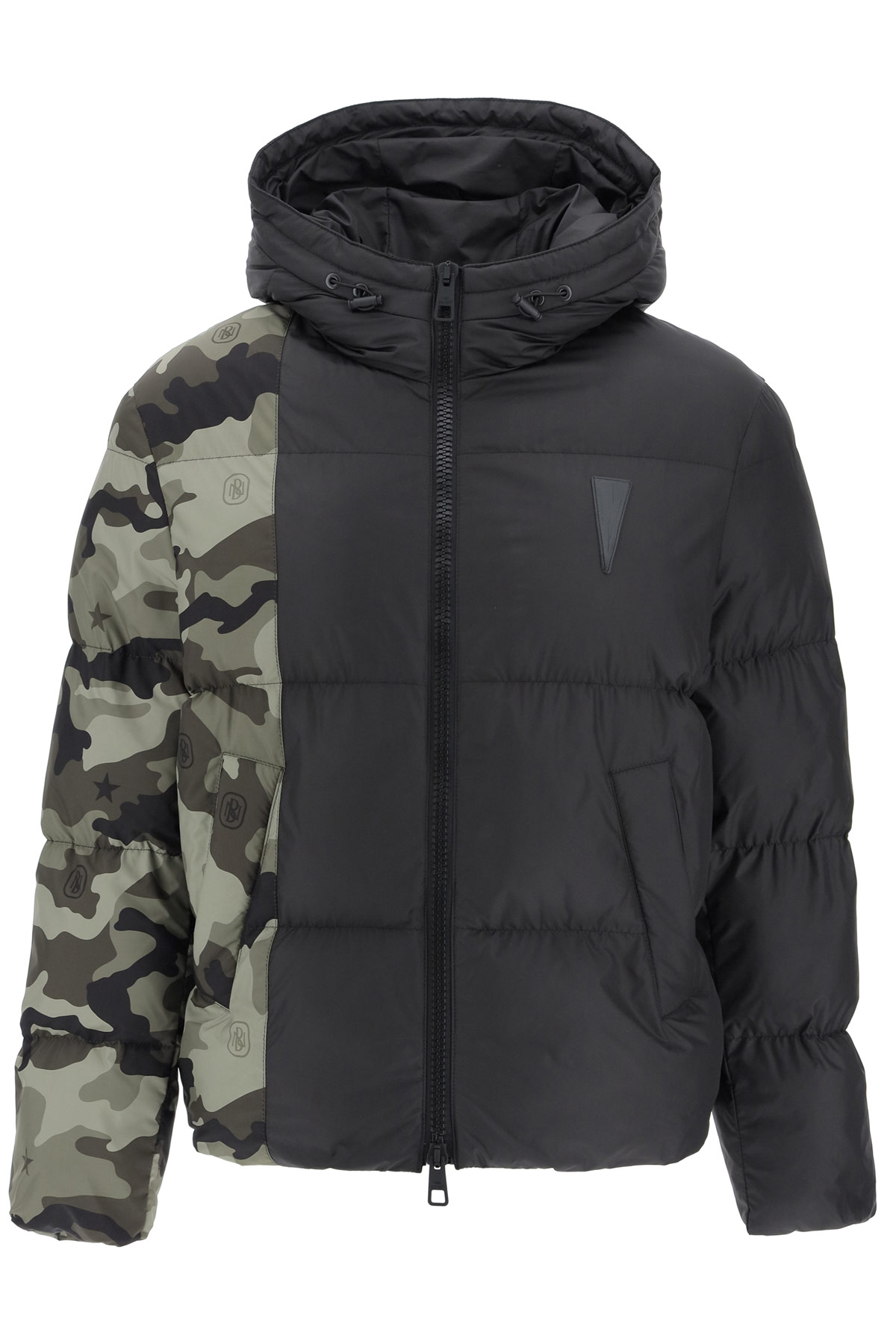 NEIL BARRETT PUFFER JACKET WITH CAMOUFLAGE MOTIF XL Black, Green