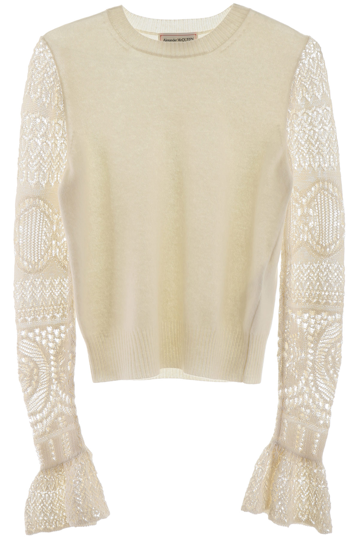 ALEXANDER MCQUEEN PULLOVER WITH CROCHET SLEEVES XS White Wool, Cotton